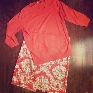 J.Crew- Pretty Coral Skirt/Sweater Set. Size M